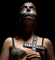 Santa Muerte. Photo of glamorous girl with make-up