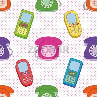 Seamless background, cartoon telephones