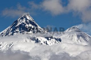 Volcanoes of Kamchatka Peninsula: Kamen Volcano and Klyuchevskoy Volcano