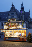 Small Christmas market 2020 on the Domshof with no visitors during the corona pandemic, Bremen