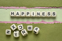 happiness word abstract in wooden letter cubes