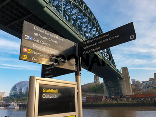 Street signs under the Tyne Bridge at Newcastle Gateshead Quayside