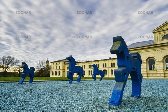 Sculptures Blue Horses at Marstall, Schwerin, Mecklenburg Western Pomerania, Germany