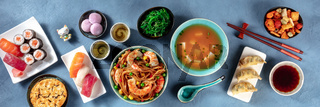 Japanese cuisine panorama. Various dishes of Japan, overhead flat lay shot