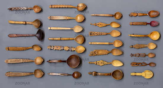 Carved wooden spoons from above
