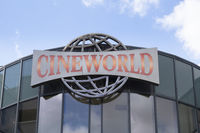 Logo at the facade of the cinema Cineworld