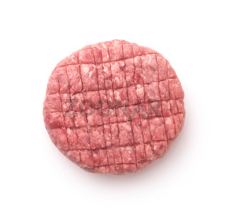 Top view of fresh raw burger patty