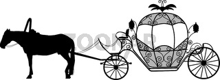 Silhouette image of a horse harnessed to a carriage
