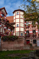 Historic tower and timbered house (frame house) of the Nuremberg castle, Bavaria, Germany