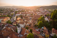 Aerial view of old medieval city center of Ljubljana, capital of Slovenia.