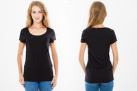 collage t shirt. Caucasian woman,girl in black tshirt isolated on white background, template,blank