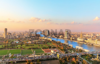Aerial view on the downtown of Cairo and the Nile, Egypt