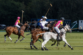 MIDHURST, WEST SUSSEX/UK - SEPTEMBER 1 : Playing polo in Midhurst, West Sussex on September 1, 2020.  Unidentified people