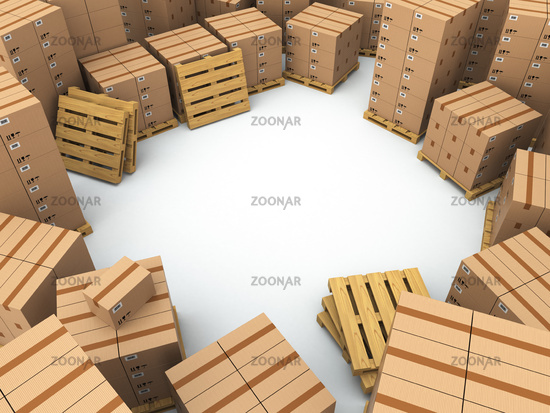 Storage. Cardboard boxes on pallet
