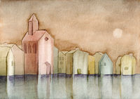 watercolor village and church