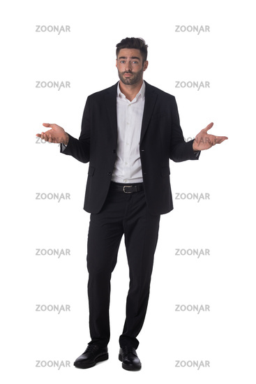 Portrait of clueless business man