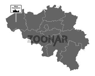 Landkarte von Belgien mit Orstsschild West Vlaanderen - Map of Belgium with road sign West Vlaanderen