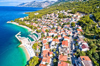 Aerial view of Brela beach and waterfront on Makarska riviera