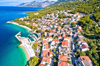 Aerial view of Brela beach and waterfront on Makarska riviera