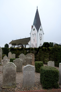 AMRUM, GERMANY - JANUARY 01, 2020: In Nebel on the North Frisian Island Amrum in Germany the historic Sailor Tombstones have been restored. They are called speaking Grave Stones
