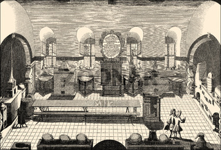 Chemical laboratory, 17th Century, University Altdorf, Bavaria, Germany