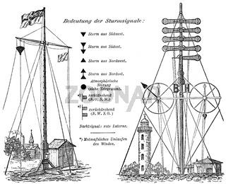 Historical  illustration, nautic storm signals, 1896