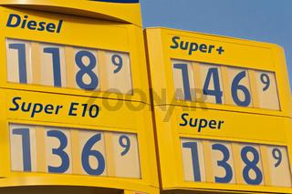 Tankstelle mit Preistafel - Günstig tanken