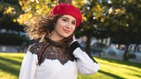 slightly vintage woman with red hat in a park, clothes, fashion, outdoors