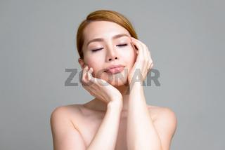 Portrait of young beautiful Asian woman shirtless