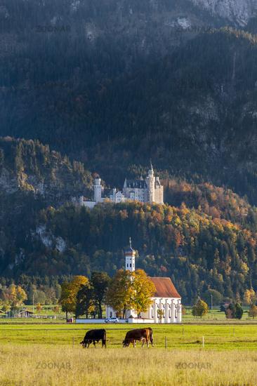 castle Neuschwanstein and pilgrimage church St. Coloman in Bavaria, Germany