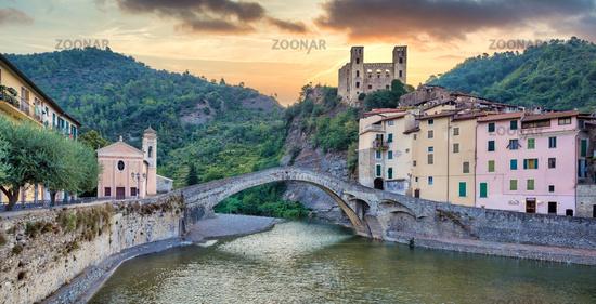 Dolceacqua ancient castle and stone bridge