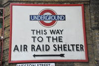 London air raid shelter sign