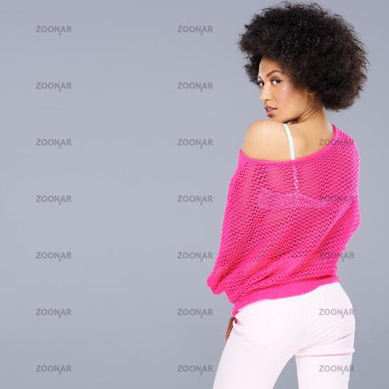 Seductive African American woman