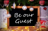 Chalkboard, Tree, Gift, Fairy Lights, Be Our Guest