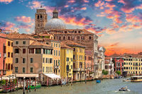 Scenic Grand Canal architecture in old city of Vencie view