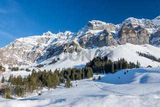 Winterlandschaft mit dem Säntismassiv, Kanton Appenzell Ausserrhoden, Schweiz