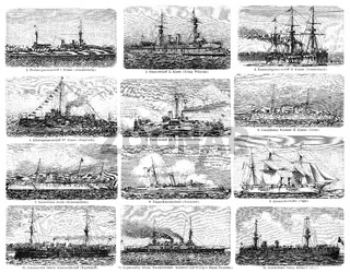 Different types of warships