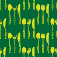 Food Seamless Pattern for Cafe. Fork Spoon Knife Logo Design Isolated on Green Background