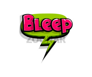 Comic text bleep, beep, logo sound effects