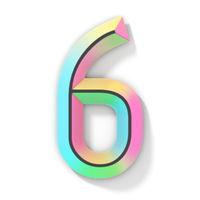 Neon color bright font Number 6 SIX 3D