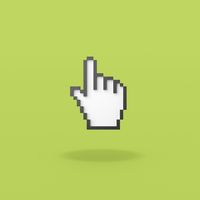 Hand Mouse Pointer Pixelated on Green Background
