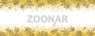 Golden Sand Particles Christmas Snowflakes White Header