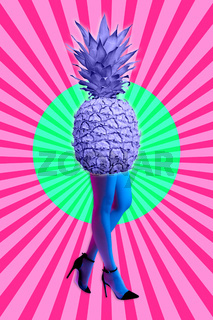 Picture of pineapple instead of body and woman's beautiful blue legs in high heels shoes on acid yellow color background. Disco lights. Surreal art. Funny modern art collage. Pop art. Zine culture.