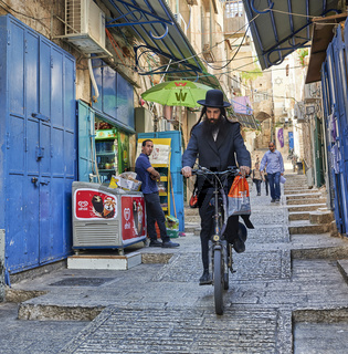 Jerusalem Israel. Jew orthodox in the streets of the old city