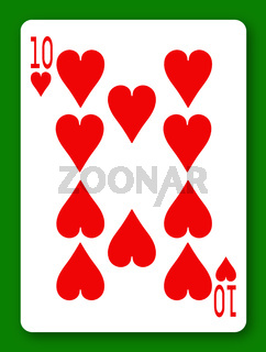 10 Ten of Hearts playing card with clipping path to remove background and shadow
