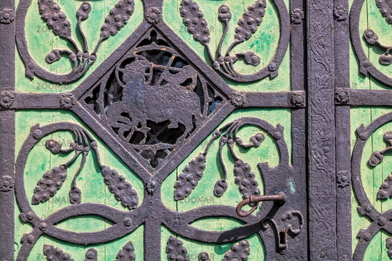 bitterfeld, germany - 19.06.2019 - detail from the portal of the church of st. antonius
