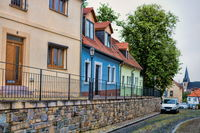Bernburg, Germany - June 20, 2019 - Single-family houses in the old town