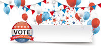 Vote Presidential Election Paper Banner Balloons Header