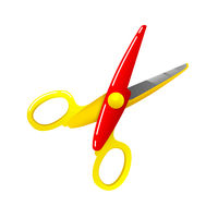 Stationery colored plastic scissors icon isolated on white, vector illustration.