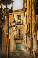 Narrow medieval street in Barcelona, Spain